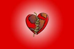 Genähte Illustration des defekten Herzens Stockbilder
