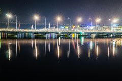 Genève bij nacht, Zwitserland Royalty-vrije Stock Foto's