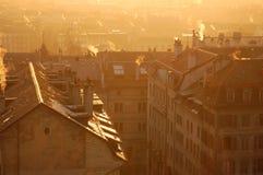 Genève d'or en coucher du soleil de l'hiver Photo stock