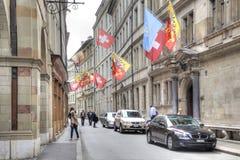genève Drapeaux nationaux des pays et des villes Images stock