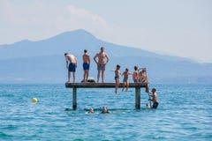 Genève för sjö för pontonbro Royaltyfria Bilder