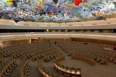 GENÈVE - JULI 12: Mänskliga rättigheterna och Alliance av civilisationer Royaltyfri Bild