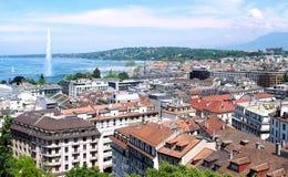 Genève, Leman Lake en de Waterstraal Stock Afbeelding