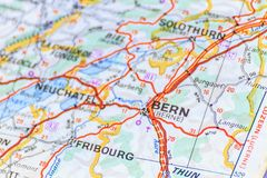 Genève. The map to Bern City, Switzerland Stock Photography