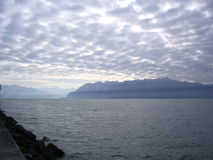 Genève molnig himmel för sjö Arkivbilder
