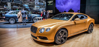 Genève Motorshow 2012 - Bentley Continentaal GT V8 Stock Foto