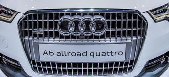 Genève Motorshow 2012 - gril avant d'Audi A6 Photographie stock libre de droits