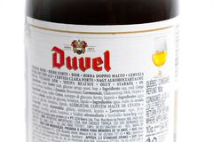 Genève/Schweiz -17 07 18: Öl för Duvel ölBelgien belgare Arkivfoto