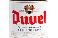 Genève/Schweiz -17 07 18: Öl för Duvel ölBelgien belgare Royaltyfri Fotografi