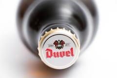 Genève/Schweiz -17 07 18: Öl för Duvel ölBelgien belgare Arkivbilder