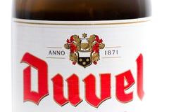 Genève/Schweiz -17 07 18: Öl för Duvel ölBelgien belgare Royaltyfri Foto