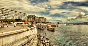 Genève Schweiz - JULI 12, 2014 Strandsikter av sjöGe Royaltyfri Foto