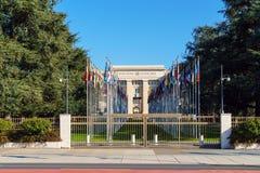 Genève Schweiz - Oktober 18, 2017: Förenta NationernamedlemSt arkivfoton