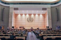 GENÈVE SCHWEIZ - SEPTEMBER 15 - Hall av plenarsammanträden Arkivbilder
