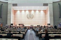 GENÈVE SCHWEIZ - SEPTEMBER 15 - Hall av plenarsammanträden Royaltyfri Foto