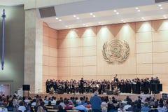 GENÈVE SCHWEIZ - SEPTEMBER 15 - Hall av plenarsammanträden Royaltyfri Fotografi