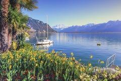 Genève sjö på Montreux, Vaud, Schweiz Royaltyfria Bilder