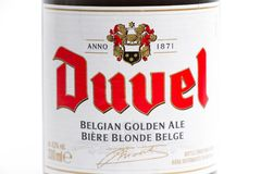Genève/Suisse -17 07 18 : Bière de Belge de la Belgique de bière de Duvel Photographie stock libre de droits