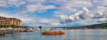 Genève, Suisse - 12 juillet 2014 Vues de bord de mer de GE de lac images libres de droits