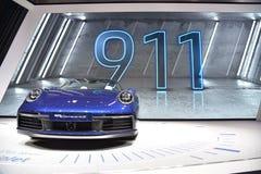 Genève, Suisse - 5 mars 2019 : La voiture de cabriolet de Porsche 911 Carrera 4s a présenté au quatre-vingt-dix-neuvième Salon de photographie stock libre de droits