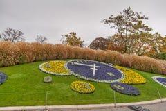 GENÈVE, SUISSE - 30 OCTOBRE 2015 : Vue étonnante de matin d'horloge de fleur dans la ville de Genève Images libres de droits