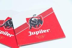 Genève/Switzerland-28 08 18 : Carton Belgique de protection de caboteur de bière de Jupiler image libre de droits