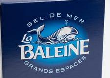 Genève/Switzerland-16 07 18: För askla för hav salt baleine Frankrike fotografering för bildbyråer