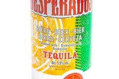 Genève/Zwitserland-09 09 18: Kan desperado's op smaak gebrachte biertequila cerveza stock foto's