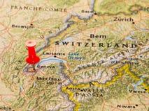 Genève, Zwitserland op een kaart van Europa wordt gespeld dat Royalty-vrije Stock Foto