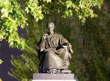 Genève/Zwitserland-29 08 18: Standbeeld van rousseau van Jean Jacques phylosopher stock foto's