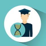 Genética de la DNA del hombre del estudiante de tercer ciclo Foto de archivo