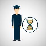 Genética de la DNA del hombre del estudiante de tercer ciclo Fotografía de archivo libre de regalías