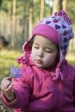 Genauer Blick des kleinen Mädchens im Wald an einer Blume Lizenzfreie Stockfotografie