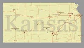 Genauer Vektor Kansas genaue ausführliche Zustands-Karte mit Gemeinschaft A Lizenzfreie Stockfotos