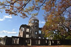 Genbaku Dome in Hiroshima, Japan Dome during Fall Season. Genbaku Dome of Hiroshima, Japan in the fall season on a sunny day stock photos