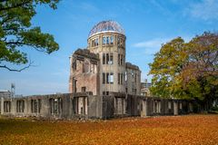 Genbaku Dome of Hiroshima Peace Memorial in japan. The Hiroshima Peace Memorial, originally the Hiroshima Prefectural Industrial Promotion Hall, and now commonly royalty free stock photography