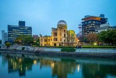 Genbaku-Haube des Hiroshima-Friedensdenkmals nachts stockfoto