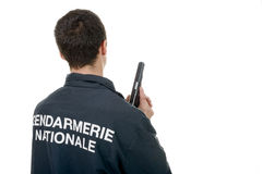 Gendarme back view isolated on a white background Royalty Free Stock Photos