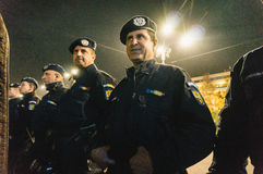 Gendarme line protecting government building Royalty Free Stock Images