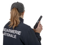 Gendarme woman back view isolated on a white background Royalty Free Stock Image