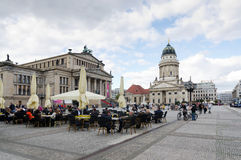 Gendarmenmarkt. BERLIN, GERMANY - SEPTEMBER 28: French Cathedral and Gendarmenmarkt Square on September 28, 2013 in Berlin, Germany. The square was created by Stock Photography