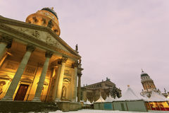 Gendarmenmarkt with French and German Domes Stock Photography