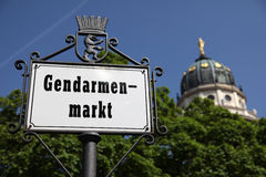 Gendarmenmarkt Signpost and Dome Royalty Free Stock Photo