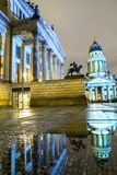 Gendarmenmarkt square illuminated during sunset in Berlin city center, Germany Stock Photography