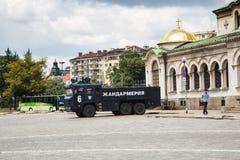 Gendarmerie car near St. Alexander Nevsky Royalty Free Stock Photo