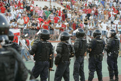Gendarmerie officers restore public order. During football game Royalty Free Stock Photo