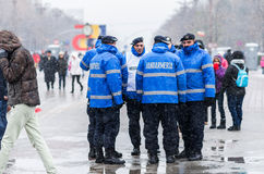 Gendarmery le 1er décembre de observation sûr de Romania's DA national Photo libre de droits