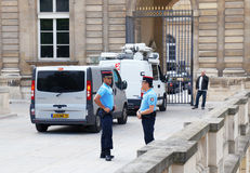 Gendarmes near the Luxembourg palace Stock Images