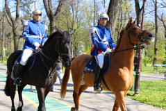 Gendarmes riding Royalty Free Stock Image