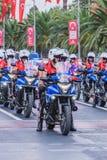 Gendarmi turchi sulla parata dei motocicli in Turchia fotografia stock